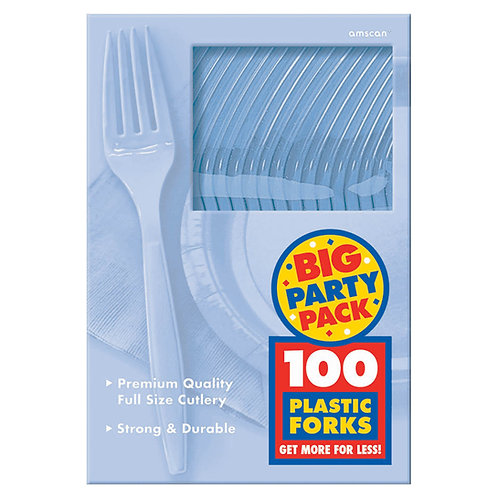 Light Blue Value Plastic Forks 100ct