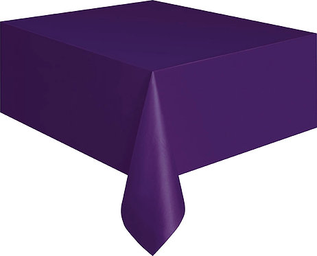 "Purple Rectangular Plastic Table Cover 54""x108"""
