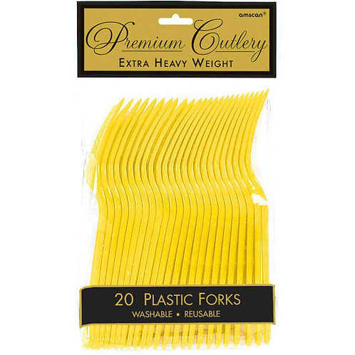 Yellow Plastic Forks 20ct