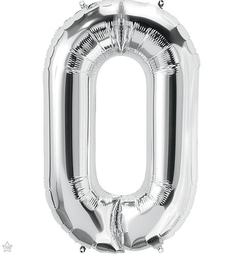 Silver 34in Number Balloon