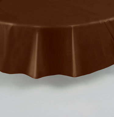 """Brown Round Plastic Table Cover 84"""""""