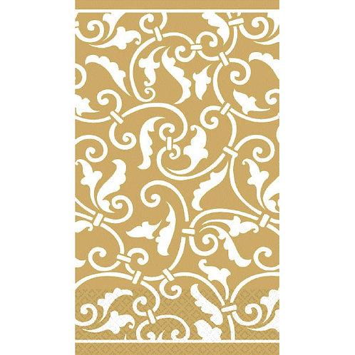 Gold Ornamental Scroll Guest Towels 16ct