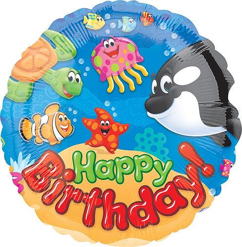 #297 Trend Sea Buddies Happy Birthday 18in Balloon