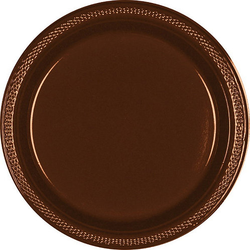 Brown 10.25in Plastic Plates 20ct