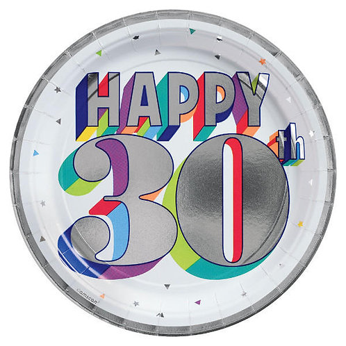 Here's To 30 Round Metallic Dessert Plates 8ct