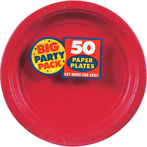 Red 7in Paper Plates 50ct