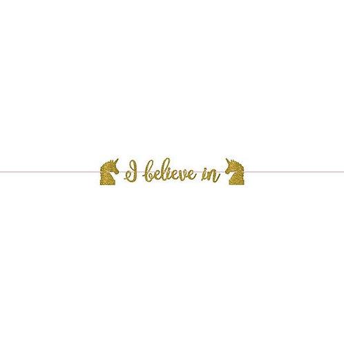 Magical Unicorn Gold Glitter Ribbon Letter Banner