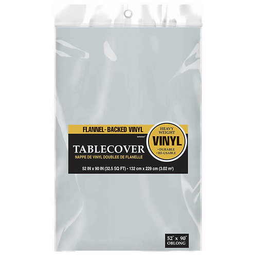 Silver Flannel-Backed Vinyl Tablecloth
