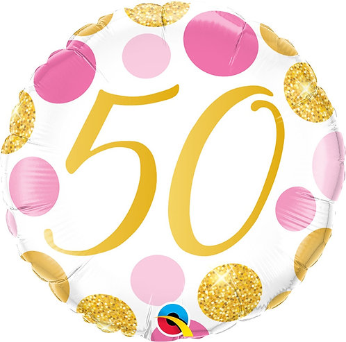 #372 Pink & Gold Dots 50 18in Balloon