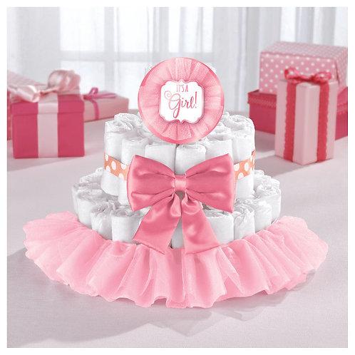 Baby Shower Deluxe Diaper Cake Kit - Girl