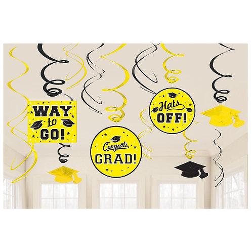 Grad Value Pack Swirl Decorations - Yellow