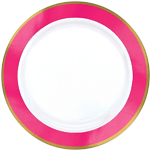 Bright Pink Border Premium 7in Plastic Plates 10ct