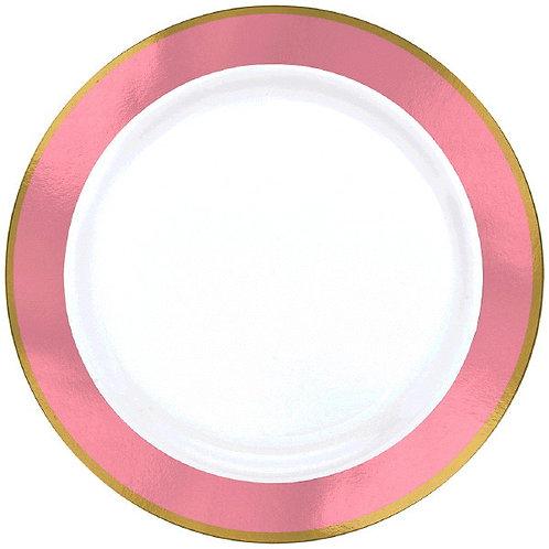 Pink Border Premium 7in Plastic Plates 10ct