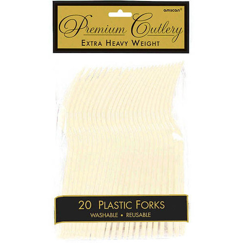 Vanilla Creme Plastic Forks 20ct
