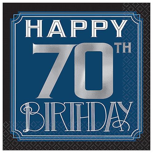 Happy Birthday Man Hot-Stamped Beverage Napkins 16ct - 70th