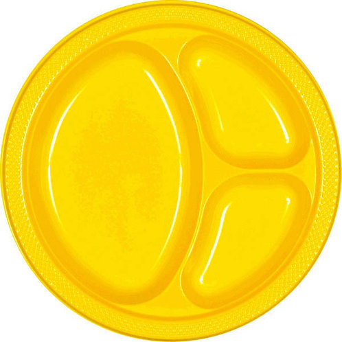 Yellow 10in Divided Plastic Plates 20ct