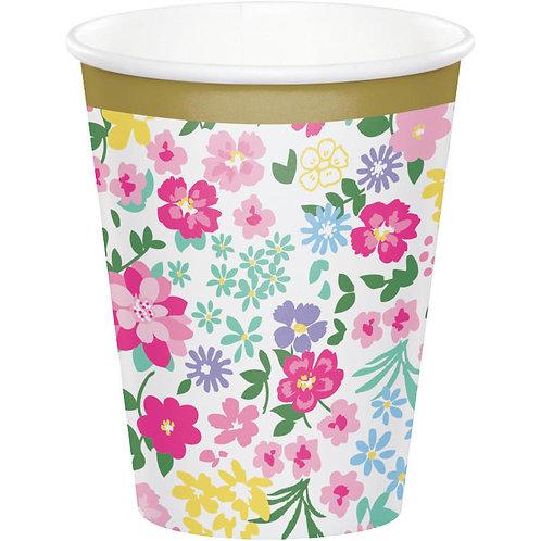 Floral Tea Party Paper Cups 8ct