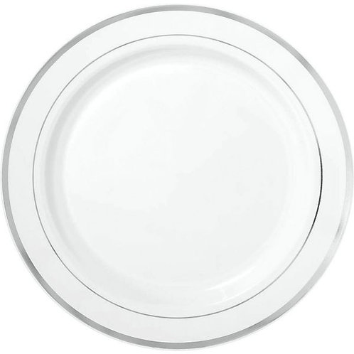 Premium Plastic White 10in Plates with Silver Border 10ct
