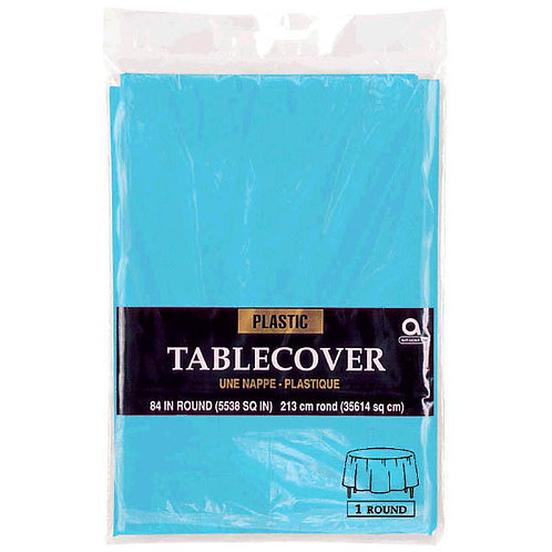 """Caribbean Blue Round Plastic Table Cover, 84"""""""