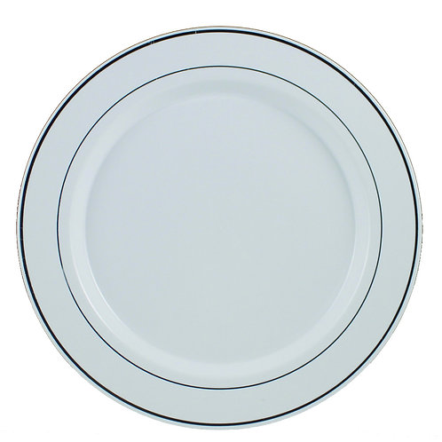 Regal White 10in Plastic Plates With Silver Trim 12ct