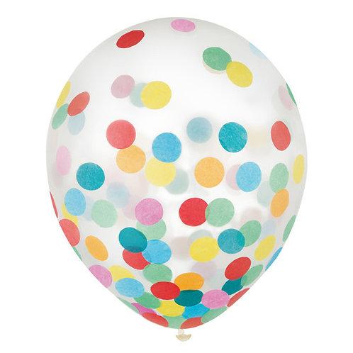 Primary Confetti 12in Latex Balloons 6ct