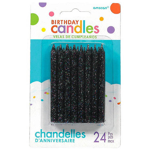 Black Glitter Spiral Candles 3.25in 24ct