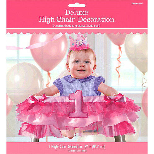 1st Birthday Deluxe High Chair Decoration - Pink