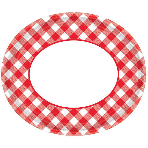 Picnic Gingham 12in Oval Plates 18ct