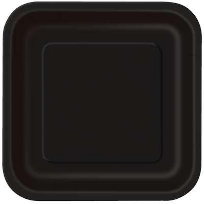 Black Square 7in Dessert Plates 16ct