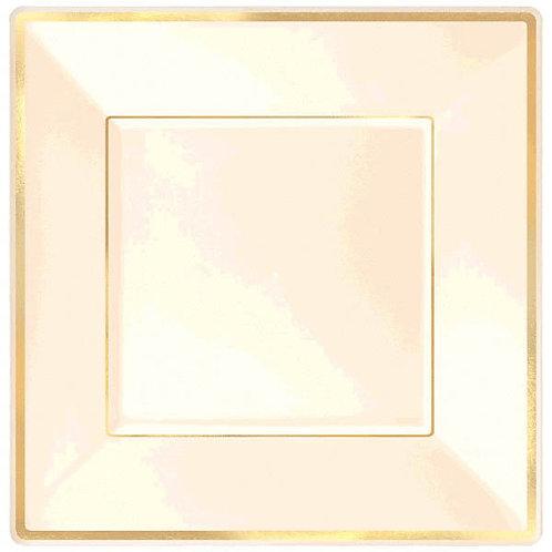 """Square Plastic Plate Cream w/Gold Trim, 7 1/4"""" - 10ct"""