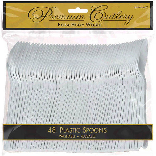 Silver Plastic Spoons 48ct
