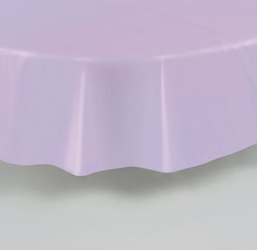 Lavender Round Plastic Table Cover 84""