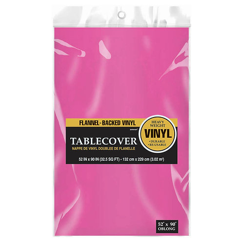 Bright Pink Flannel-Backed Vinyl Tablecloth