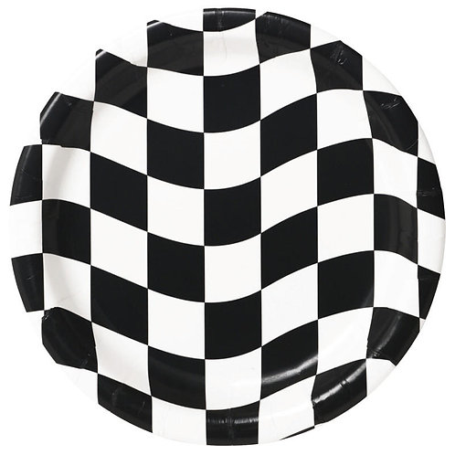 Black & White Check Lunch Plates 8ct