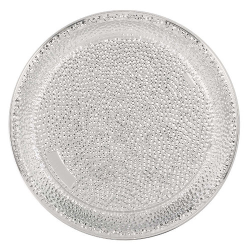 Hammered Silver 16in Plastic Tray