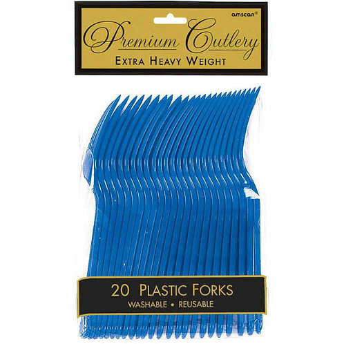 Royal Blue Plastic Forks 20ct