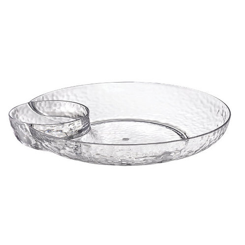 Hammered Clear Chip and Dip Tray