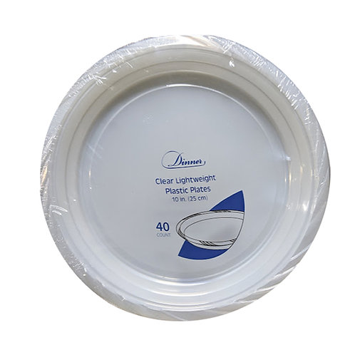 Clear 10in Plastic Plates 40ct