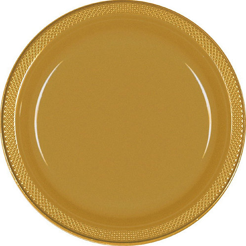 Gold 7in Plastic Plates 20ct