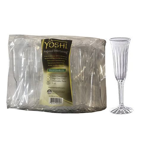 Resposables Fluted Plastic 5oz Champagne Glasses 8ct