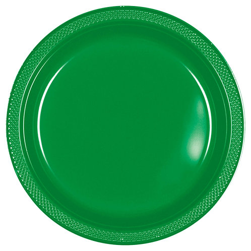 Green 10in Plastic Plates 20ct