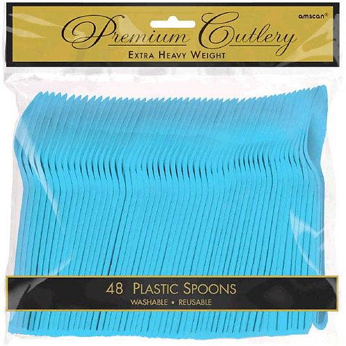 Caribbean Blue Plastic Spoons 48ct