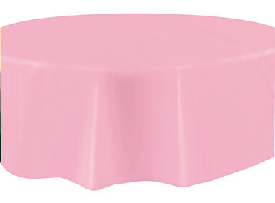 """Pink Round Plastic Table Cover 84"""""""
