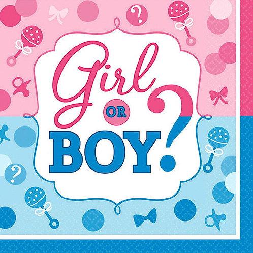 Girl or Boy? Beverage Napkins 16ct