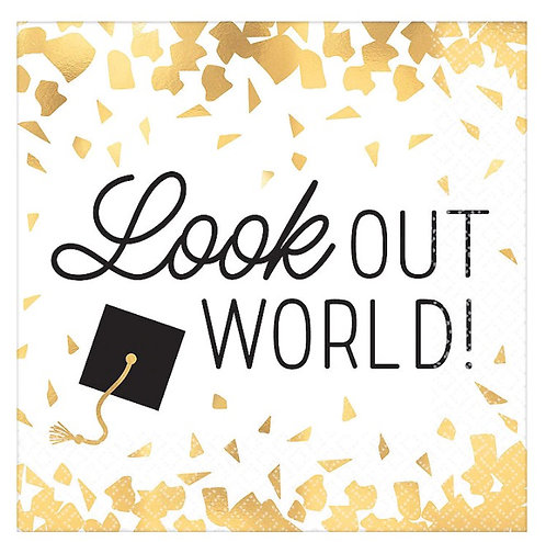 Look Out World Hot-Stamped Beverage Napkins 16ct