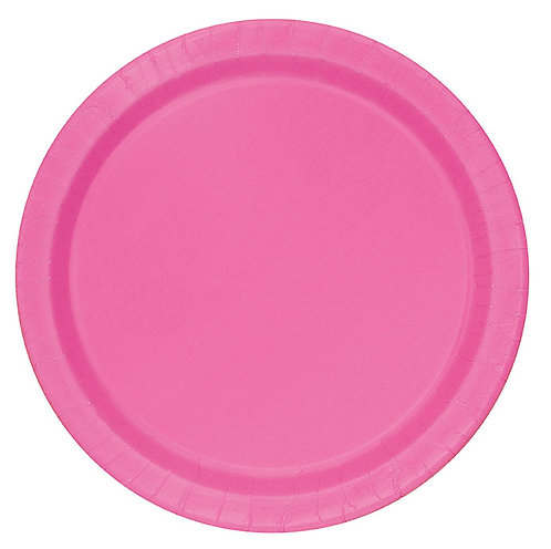 "Hot Pink Round 9"" Dinner Plates 16ct"