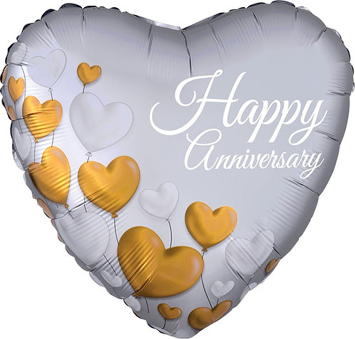 #540 Anniversary Platinum Hearts 18in Mylar Balloon