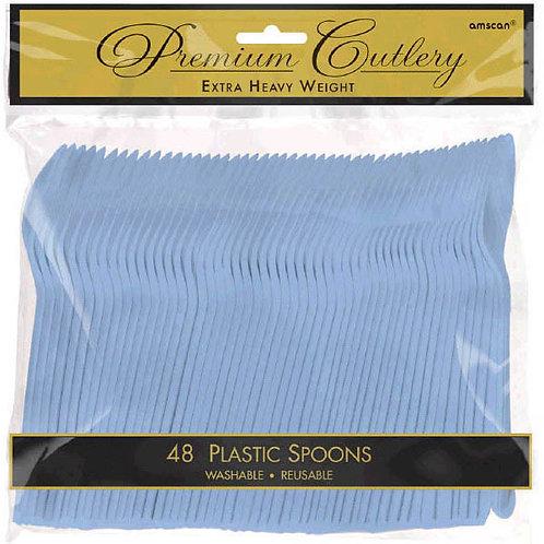 Light Blue Plastic Spoons 48ct