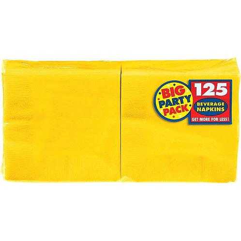 Yellow Beverage Napkins 125ct