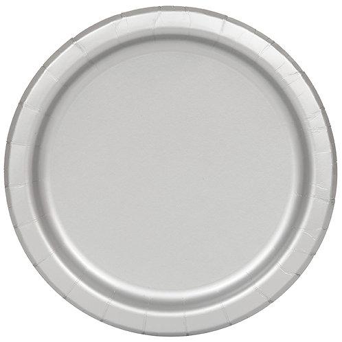 """Silver Round 7"""" Dessert Plates 20ct"""